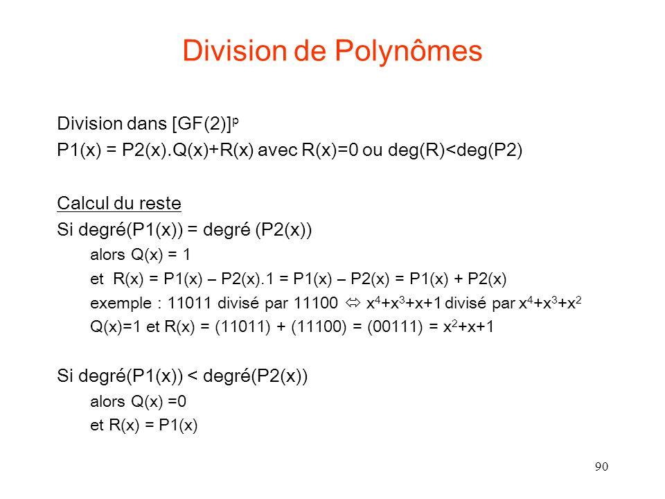 Division de Polynômes Division dans [GF(2)]p